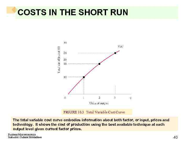 COSTS IN THE SHORT RUN FIGURE 10. 3 Total Variable Cost Curve The total