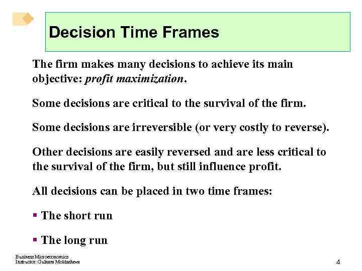 Decision Time Frames The firm makes many decisions to achieve its main objective: profit