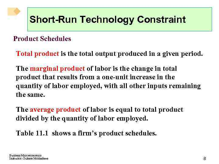 Short-Run Technology Constraint Product Schedules Total product is the total output produced in a