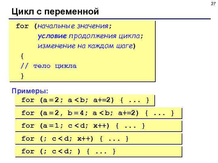 27 Цикл с переменной for (начальные значения; условие продолжения цикла; изменение на каждом шаге)