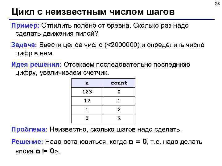 33 Цикл с неизвестным числом шагов Пример: Отпилить полено от бревна. Сколько раз надо
