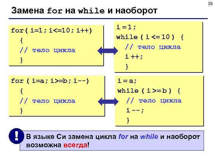 Замена for на while и наоборот for( i=1; i<=10; i++) { // тело цикла