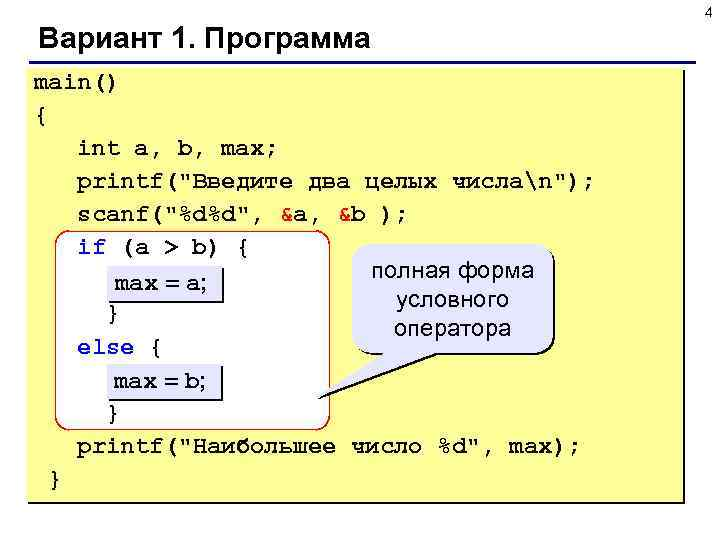 4 Вариант 1. Программа main() { int a, b, max; printf(