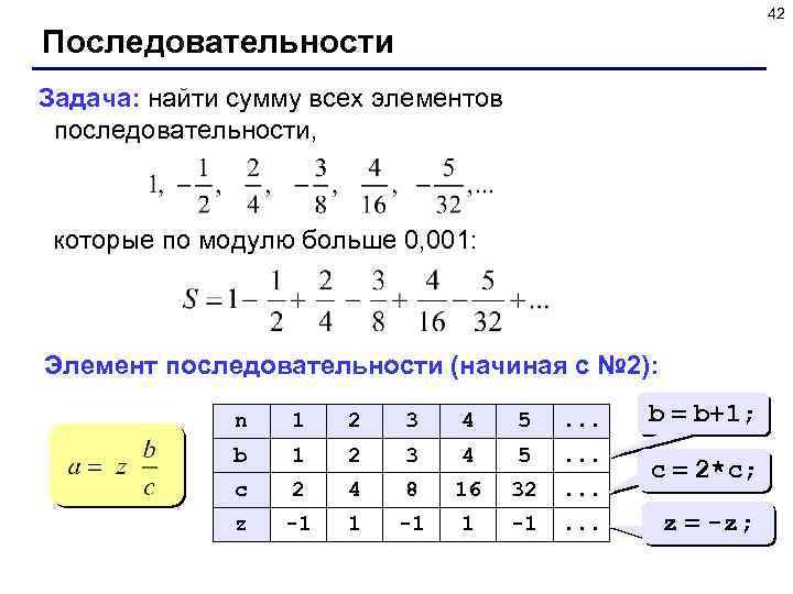 42 Последовательности Задача: найти сумму всех элементов последовательности, которые по модулю больше 0, 001:
