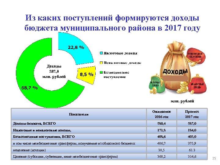 Из каких поступлений формируются доходы бюджета муниципального района в 2017 году Доходы 587, 0
