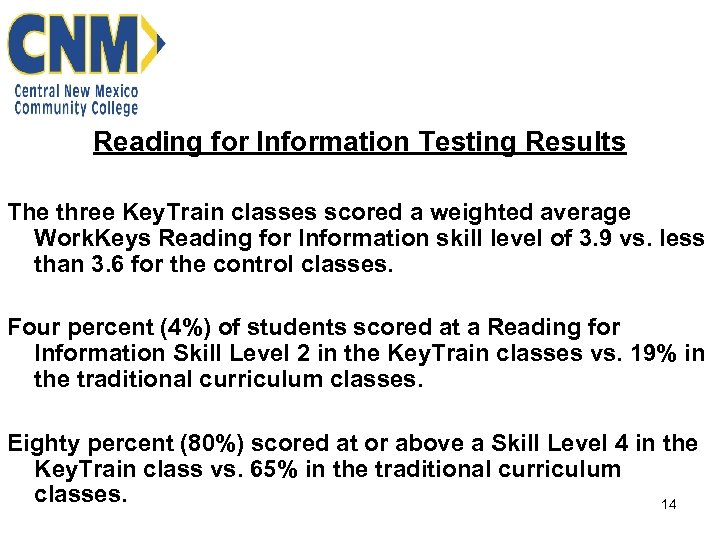 Reading for Information Testing Results The three Key. Train classes scored a weighted average