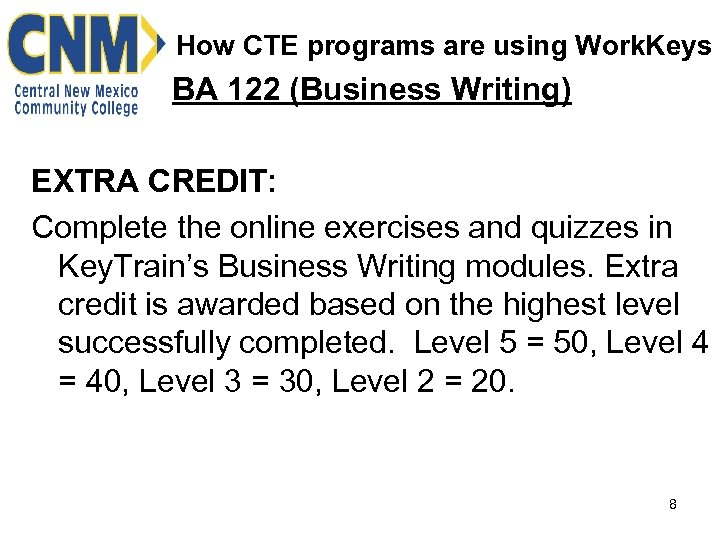How CTE programs are using Work. Keys BA 122 (Business Writing) EXTRA CREDIT: Complete