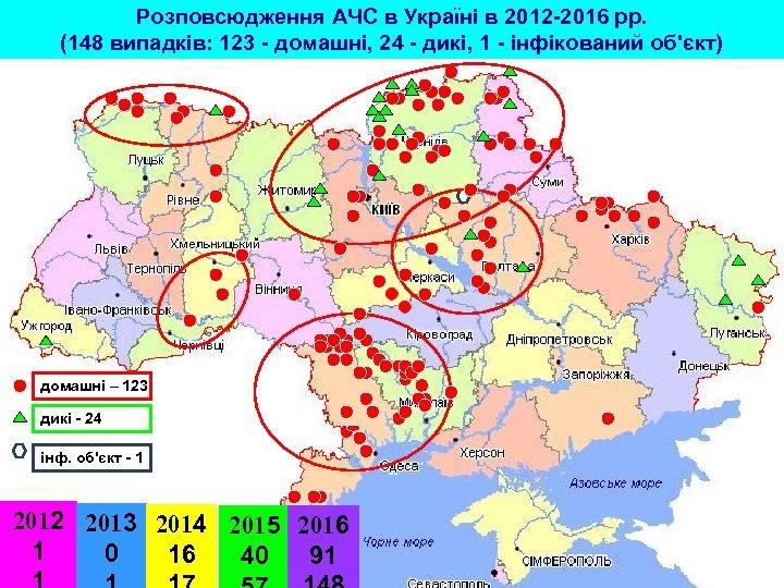 Розповсюдження АЧС в Україні в 2012 -2016 рр. (148 випадків: 123 - домашні, 24
