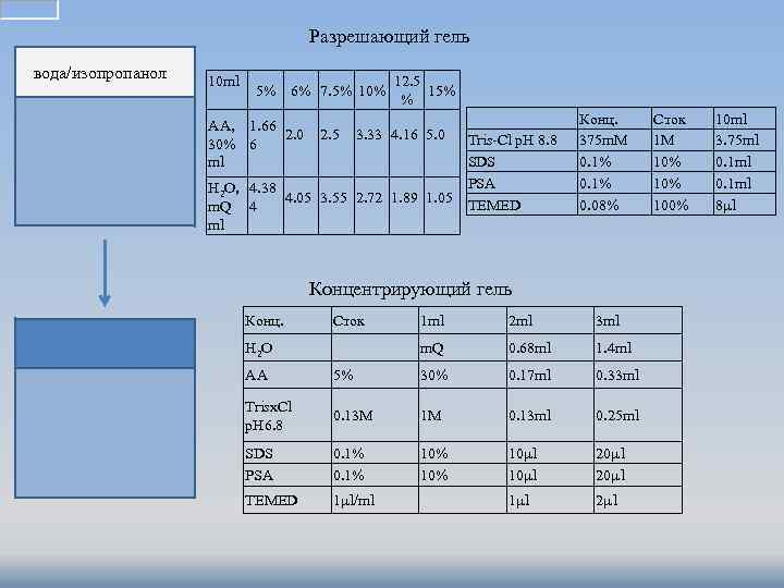 Разрешающий гель вода/изопропанол 10 ml 5% 6% 7. 5% 10% AA, 1. 66 2.