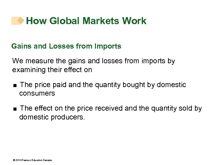 How Global Markets Work Gains and Losses from Imports We measure the gains and