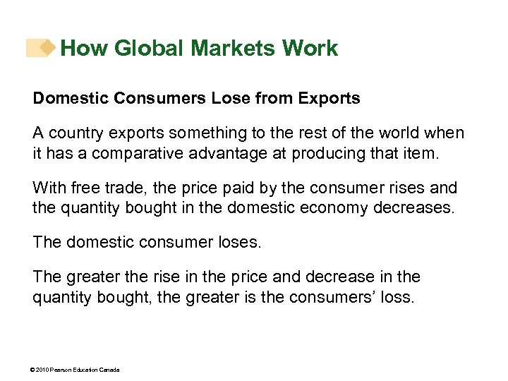 How Global Markets Work Domestic Consumers Lose from Exports A country exports something to