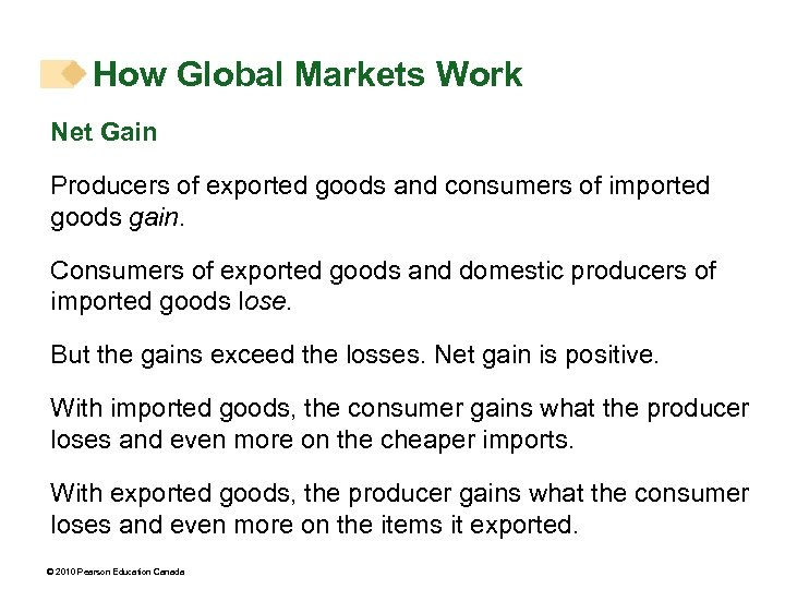 How Global Markets Work Net Gain Producers of exported goods and consumers of imported