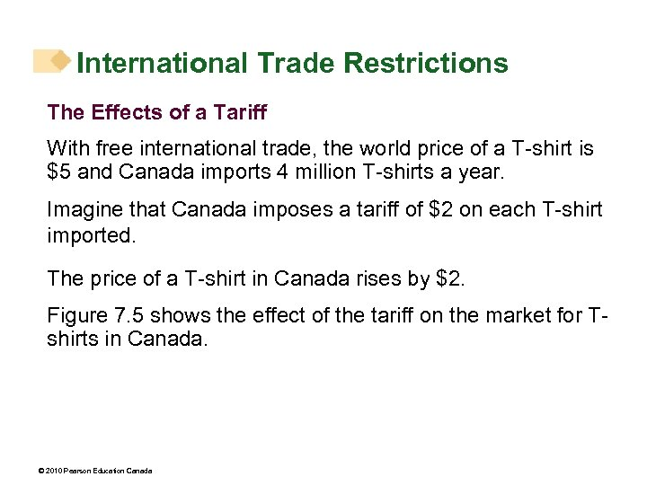International Trade Restrictions The Effects of a Tariff With free international trade, the world