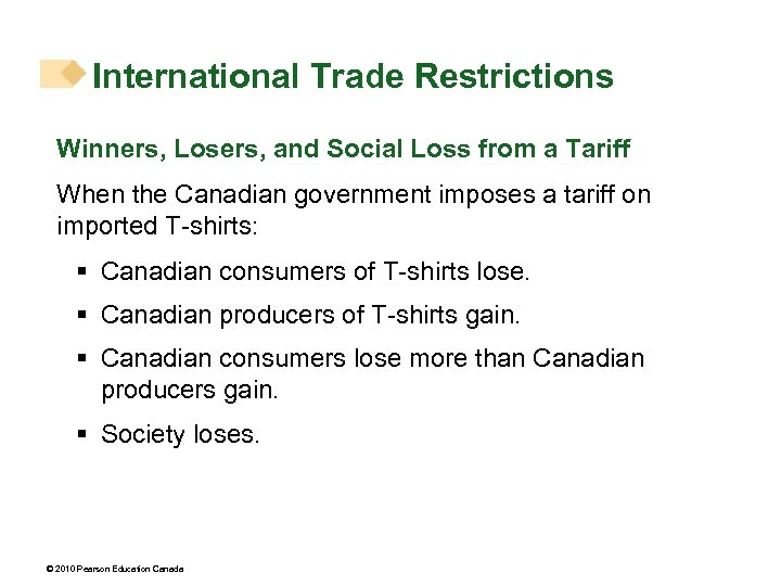 International Trade Restrictions Winners, Losers, and Social Loss from a Tariff When the Canadian