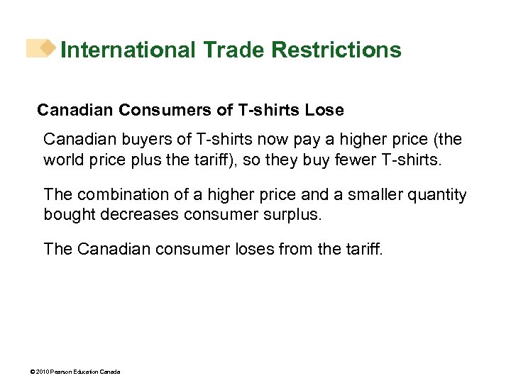 International Trade Restrictions Canadian Consumers of T-shirts Lose Canadian buyers of T-shirts now pay