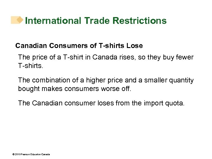 International Trade Restrictions Canadian Consumers of T-shirts Lose The price of a T-shirt in