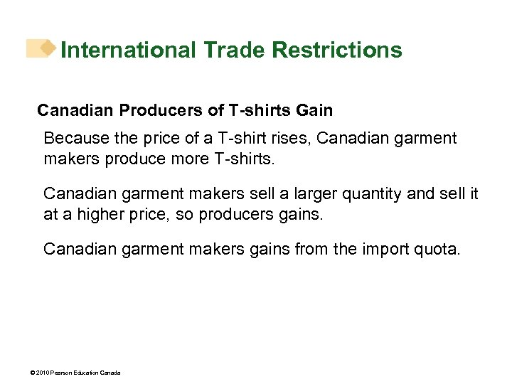 International Trade Restrictions Canadian Producers of T-shirts Gain Because the price of a T-shirt