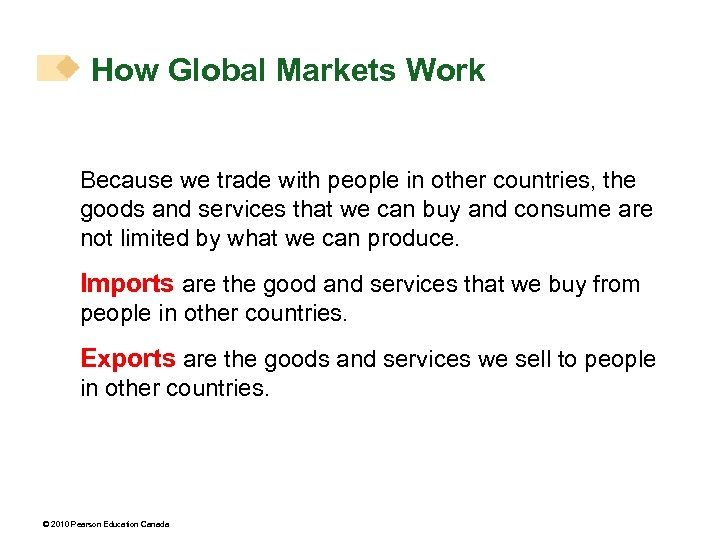 How Global Markets Work Because we trade with people in other countries, the goods