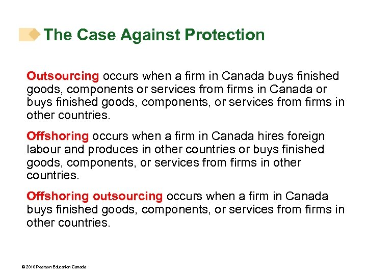 The Case Against Protection Outsourcing occurs when a firm in Canada buys finished goods,