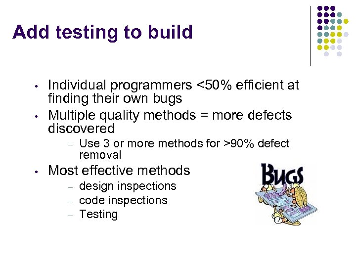 Add testing to build • • Individual programmers <50% efficient at finding their own