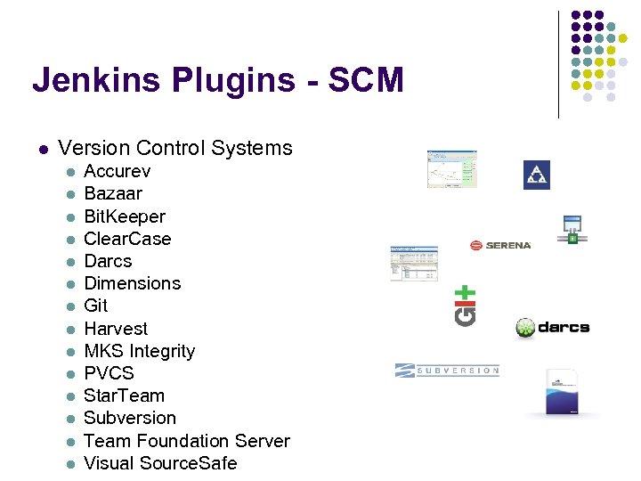 Jenkins Plugins - SCM l Version Control Systems l l l l Accurev Bazaar