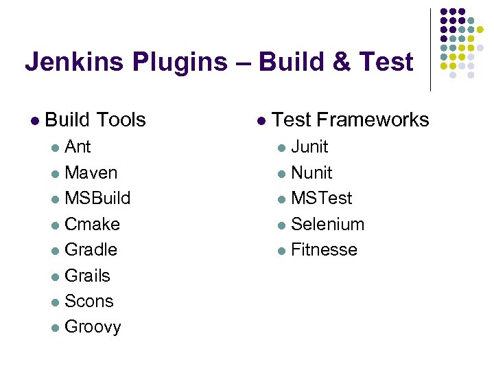 Jenkins Plugins – Build & Test l Build Tools l Test Frameworks l Ant