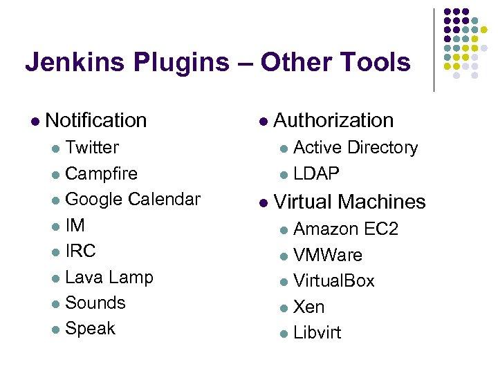 Jenkins Plugins – Other Tools l Notification l Authorization l Twitter l Active l