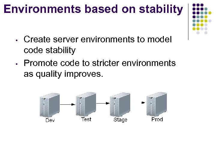 Environments based on stability • • Create server environments to model code stability Promote