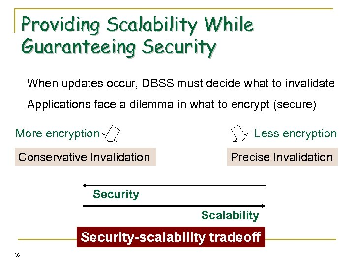 Providing Scalability While Guaranteeing Security When updates occur, DBSS must decide what to invalidate