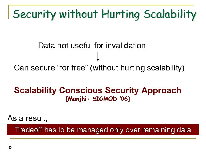 """Security without Hurting Scalability Data not useful for invalidation Can secure """"for free"""" (without"""