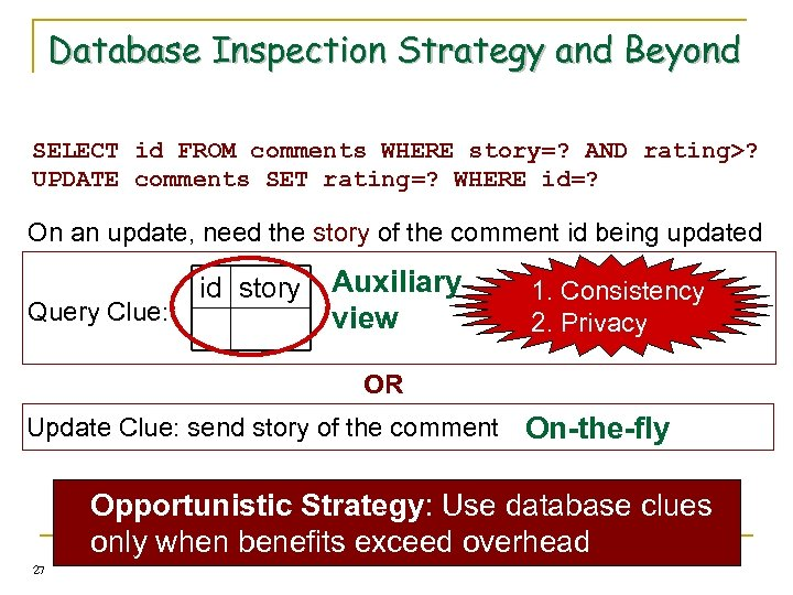 Database Inspection Strategy and Beyond SELECT id FROM comments WHERE story=? AND rating>? UPDATE