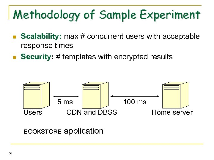 Methodology of Sample Experiment n n Scalability: max # concurrent users with acceptable response