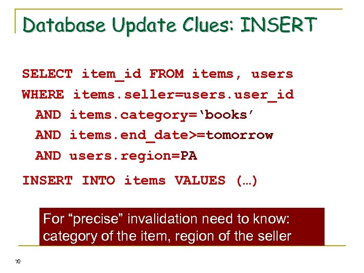 Database Update Clues: INSERT SELECT item_id FROM items, users WHERE items. seller=users. user_id AND