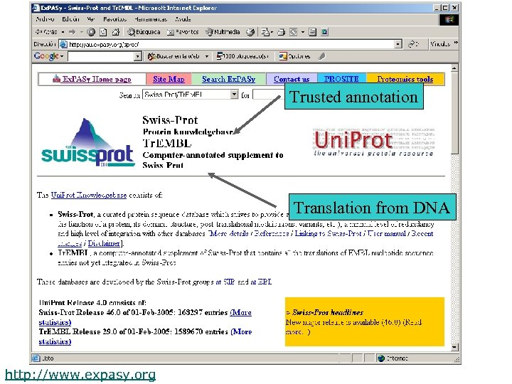 Trusted annotation Translation from DNA http: //www. expasy. org