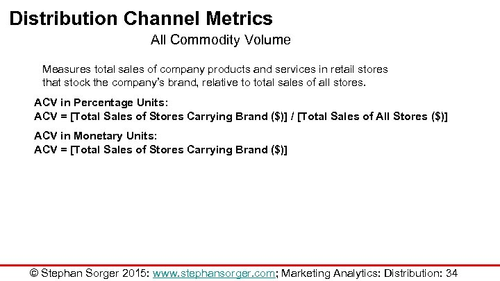Distribution Channel Metrics All Commodity Volume Measures total sales of company products and services