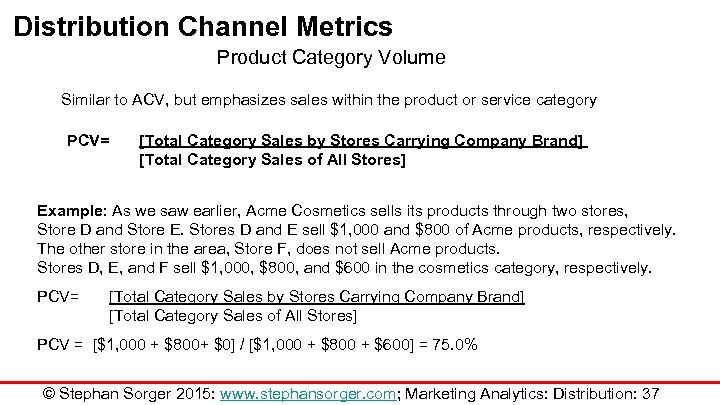 Distribution Channel Metrics Product Category Volume Similar to ACV, but emphasizes sales within the