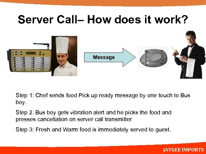 Server Call– How does it work? Message Step 1: Chef sends food Pick up
