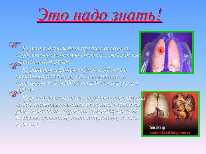 Это надо знать! FКурение поражает систему, желудочно органы дыхания, сердечно-сосудистую -кишечный тракт. FКурильщикичаще, чемраком
