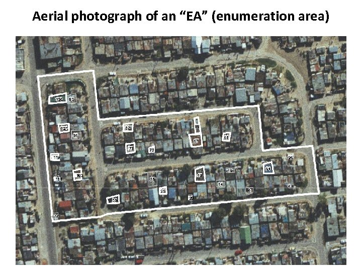 """Aerial photograph of an """"EA"""" (enumeration area)"""