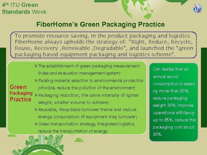 4 th ITU Green Standards Week Fiber. Home's Green Packaging Practice To promote resource