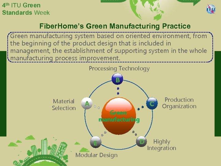 4 th ITU Green Standards Week Fiber. Home's Green Manufacturing Practice Green manufacturing system