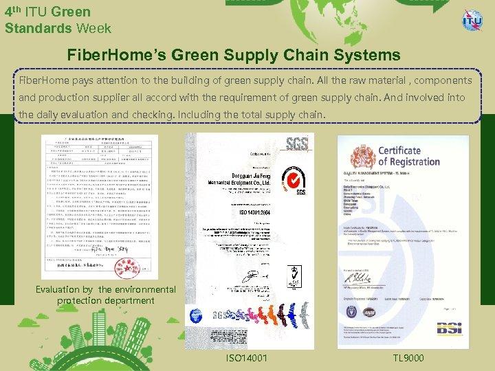 4 th ITU Green Standards Week Fiber. Home's Green Supply Chain Systems Fiber. Home