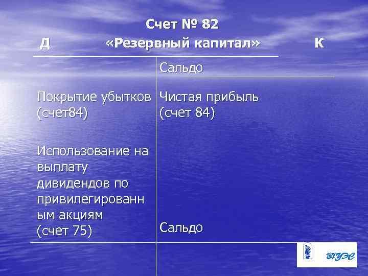 Д Счет № 82 «Резервный капитал» Сальдо Покрытие убытков Чистая прибыль (счет84) (счет 84)