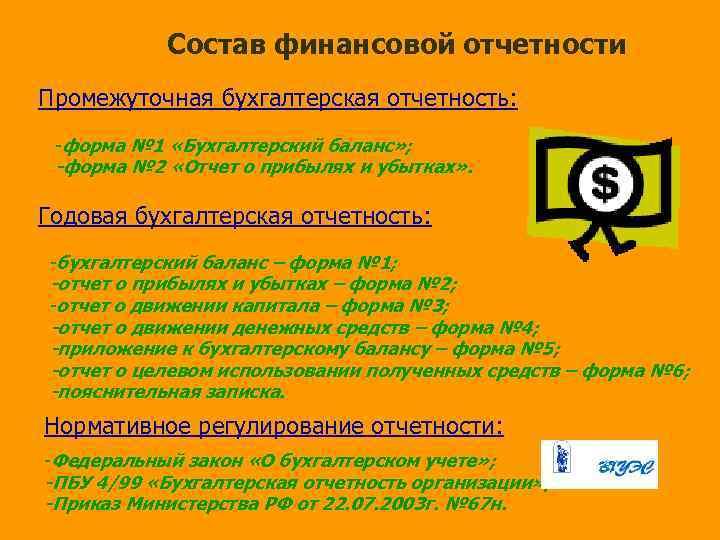 Состав финансовой отчетности Промежуточная бухгалтерская отчетность: -форма № 1 «Бухгалтерский баланс» ; -форма №