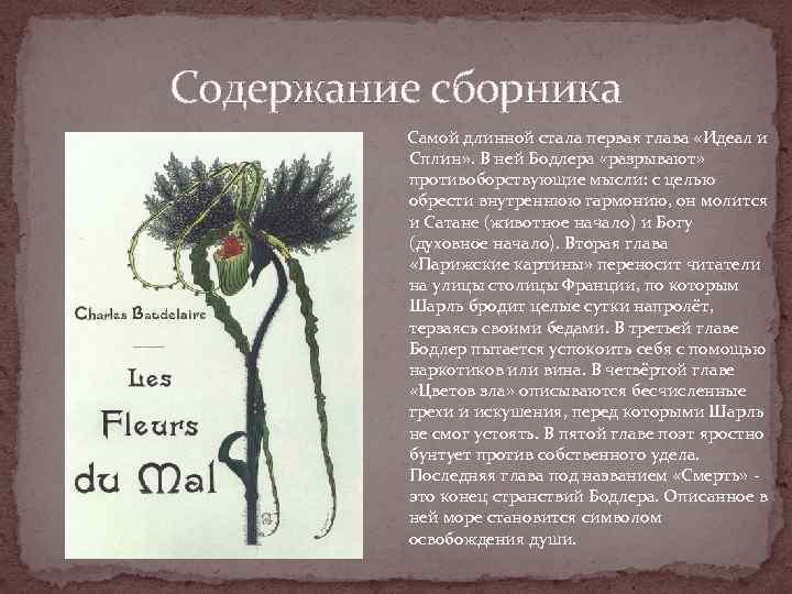 Содержание сборника Самой длинной стала первая глава «Идеал и Сплин» . В ней Бодлера