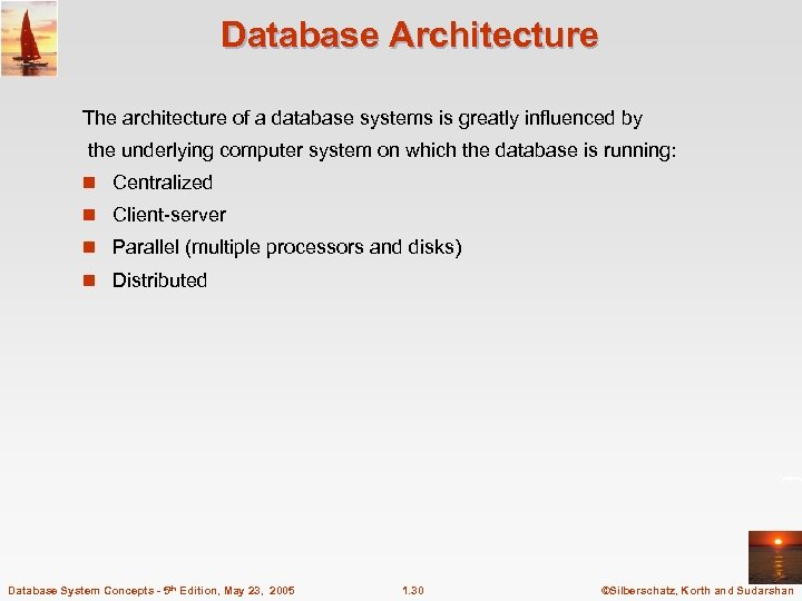 Database Architecture The architecture of a database systems is greatly influenced by the underlying