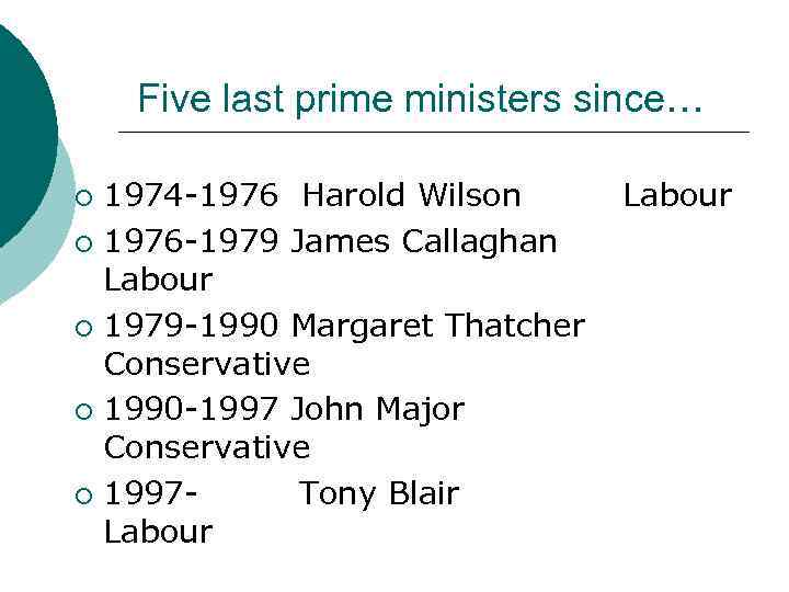 Five last prime ministers since… 1974 -1976 Harold Wilson ¡ 1976 -1979 James Callaghan