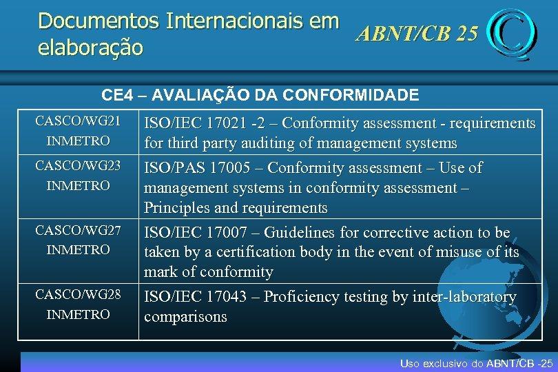 Documentos Internacionais em ABNT/CB 25 elaboração CE 4 – AVALIAÇÃO DA CONFORMIDADE CASCO/WG 21