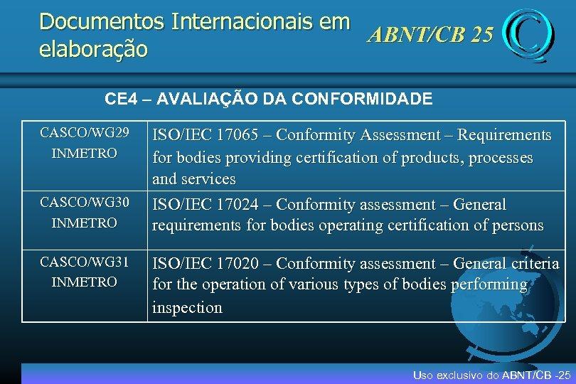 Documentos Internacionais em ABNT/CB 25 elaboração CE 4 – AVALIAÇÃO DA CONFORMIDADE CASCO/WG 29