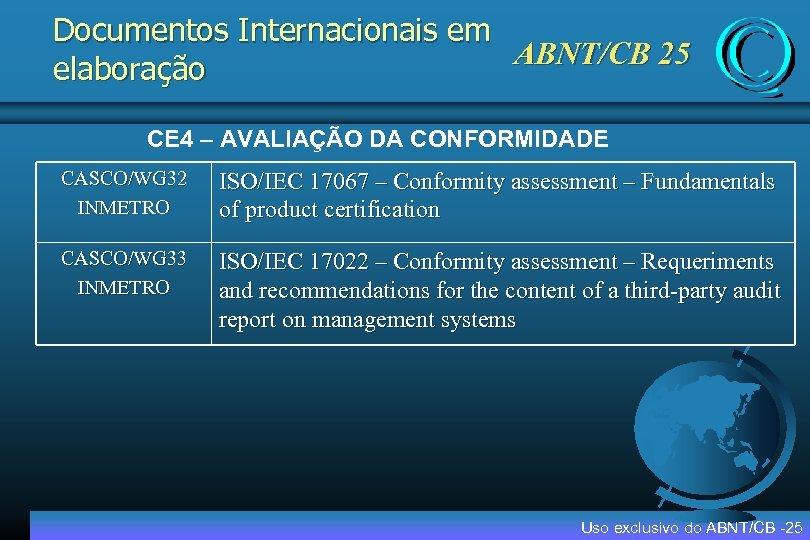 Documentos Internacionais em ABNT/CB 25 elaboração CE 4 – AVALIAÇÃO DA CONFORMIDADE CASCO/WG 32